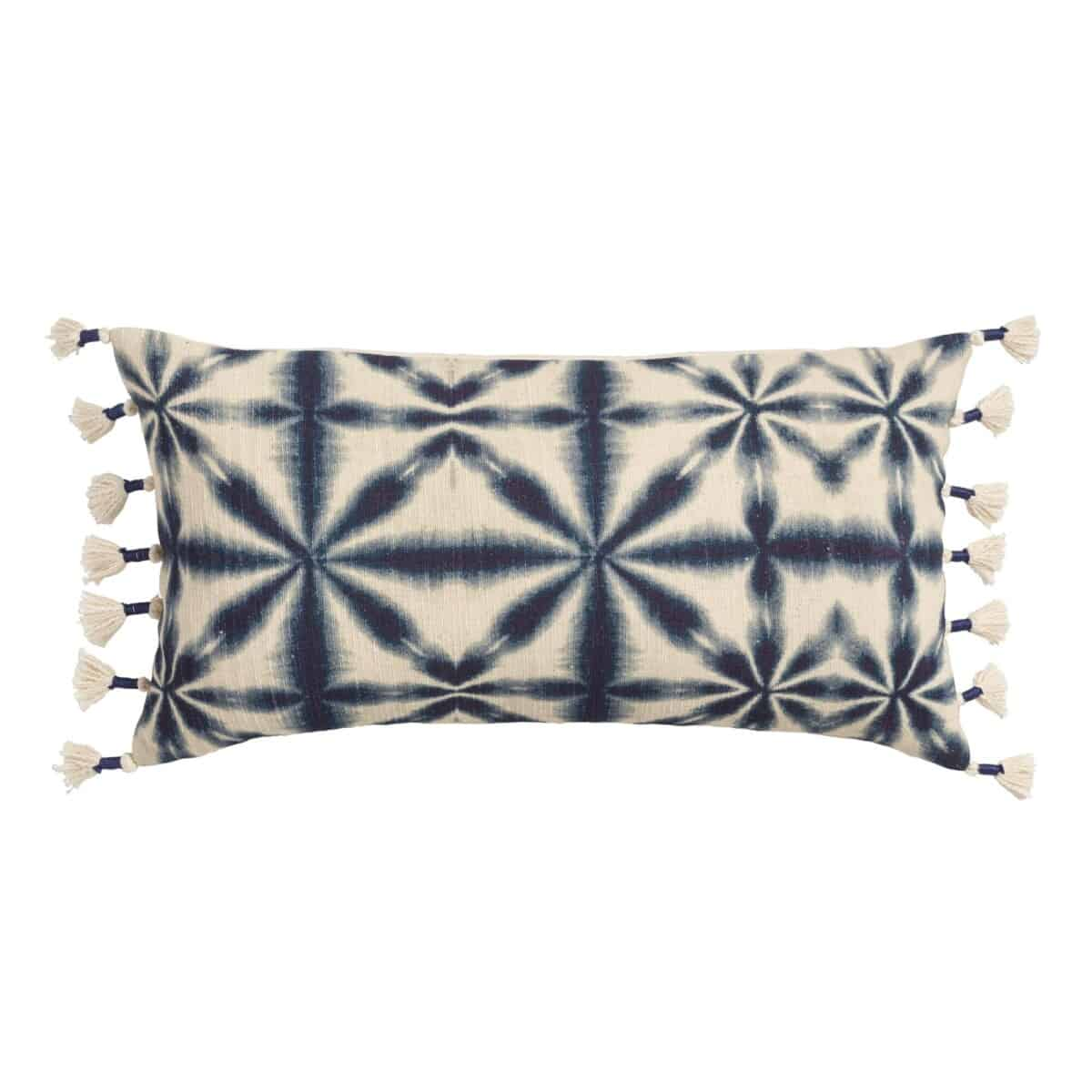 Oversized Indigo Blue Shibori Print Lumbar Pillow