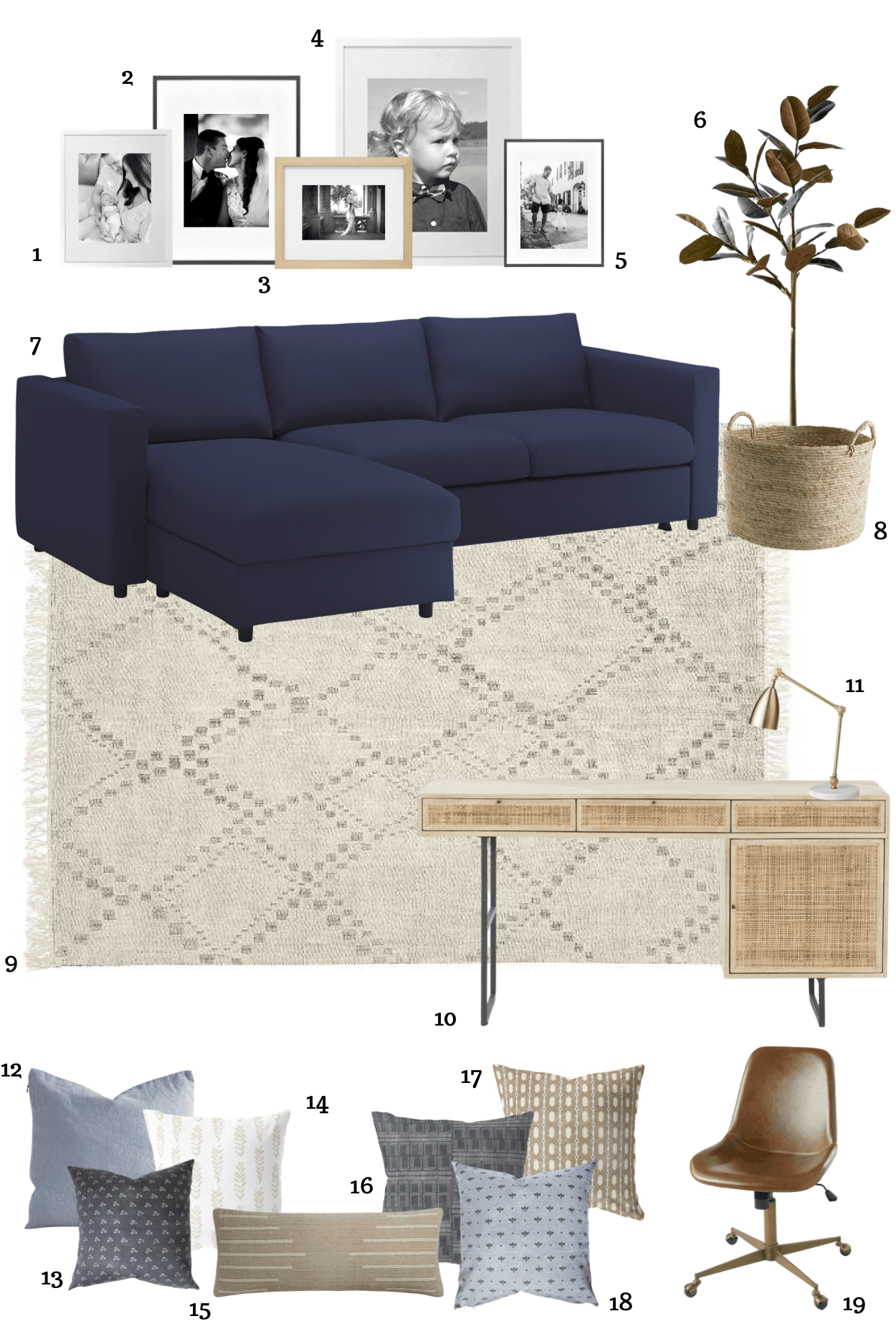 A multifunctional office with a sleeper sectional for guests, toy storage closet, and desk for work.  #officeorganization #officedecor #office #coastalhome #coastaldecor #multifunctionalroom #potterybarn #canefurniture #canedesk #cane #officefurniture #bluesofa #bluesectional #ikeahack #ikeasofa #finnala #ikeafinnala