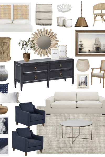My favorite coastal Amazon home decor items and three different ways to style them in your home! #amazonhome #amazon #coastallivingroom #livingroomdesign #sailboatart #amazonfurniture #blueconsole #loloirug #naturalfiberrug #amazonsofa #whitesofa #coastalhome #coastaldecor