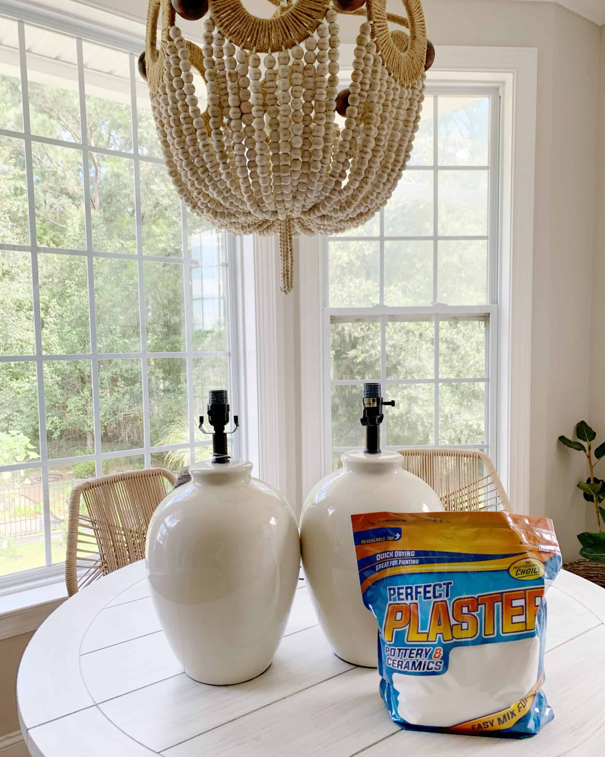 How I painted and used plaster on thrifted and cheap lamps to give them a designer look!  Pottery Barn ceramic lamp inspired DIY. #potterybarn #lamp #ceramiclamp #paintedlamp #whitelamps #plaster #plasterdiy #diyplaster