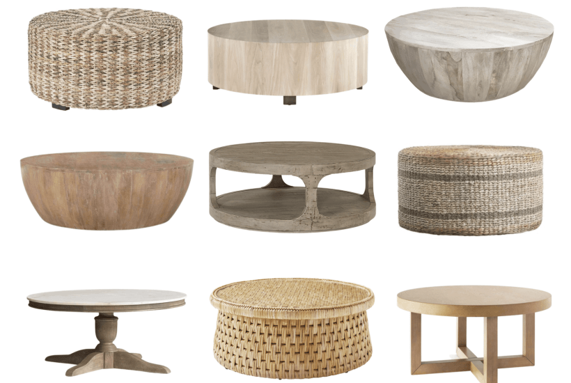 Fifteen round coffee tables, including woven and rattan styles, high end and budget friendly. Also, beautiful round wood coffee tables, drum coffee tables, and more. #coffeetable #roundcoffeetable #furniture #livingroomfurniture #designerdupe #decorideas #livingroomdecor #coastalhome