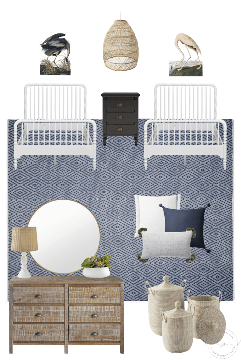 Our coastal home and shared kids' bedroom, with a blue diamond rug, matching jenny lind beds, coastal art prints, and more.