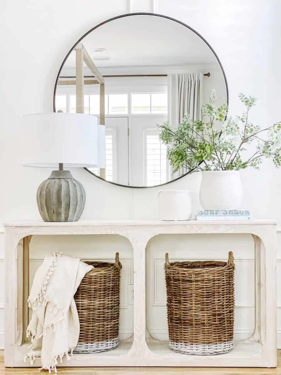 Console table styling using Kirkland's home decor items.
