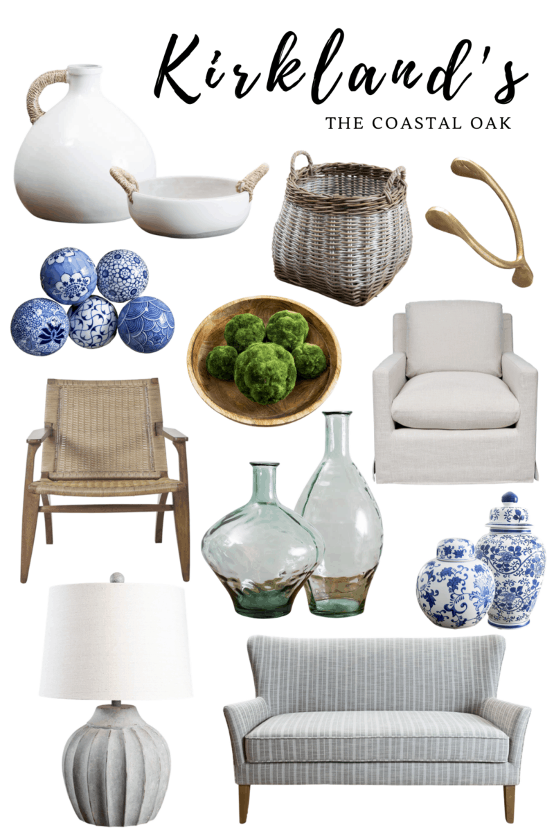 Kirkland's home decor favorites, stone distressed lamp, blue and white decor, coastal vase, green glass vase.