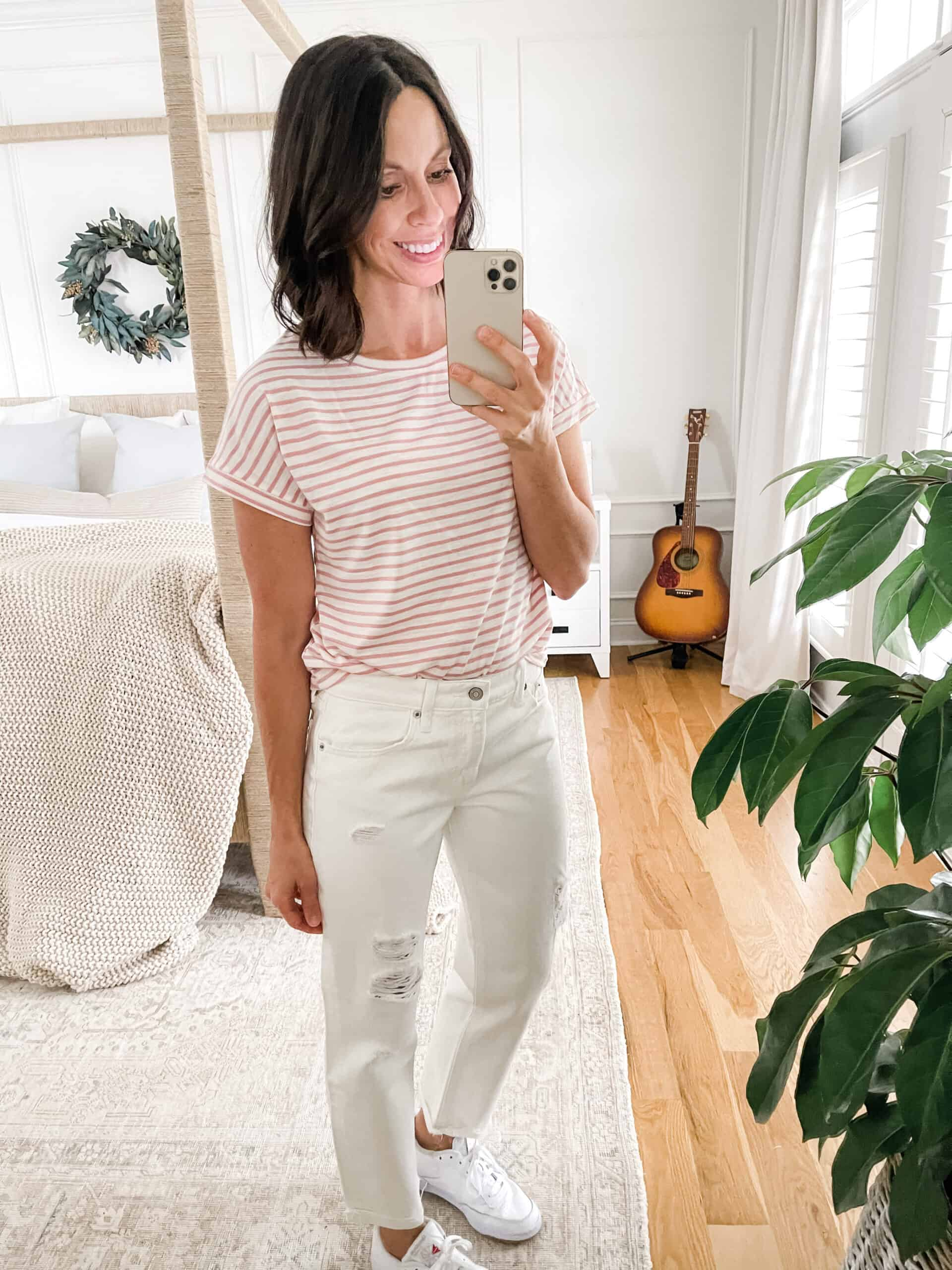 white jeans and pink shirt