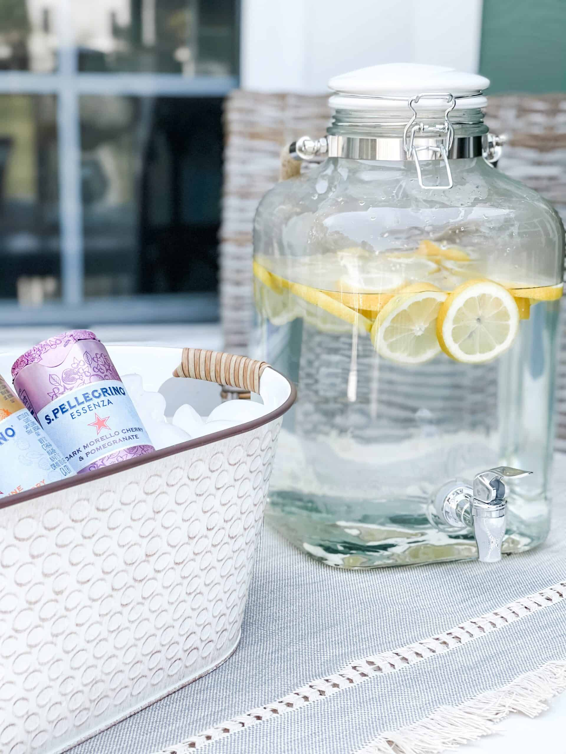 Lemon water and drink tub from Walmart.