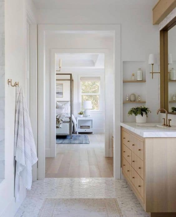 vanity inspiration in a natural wood tone