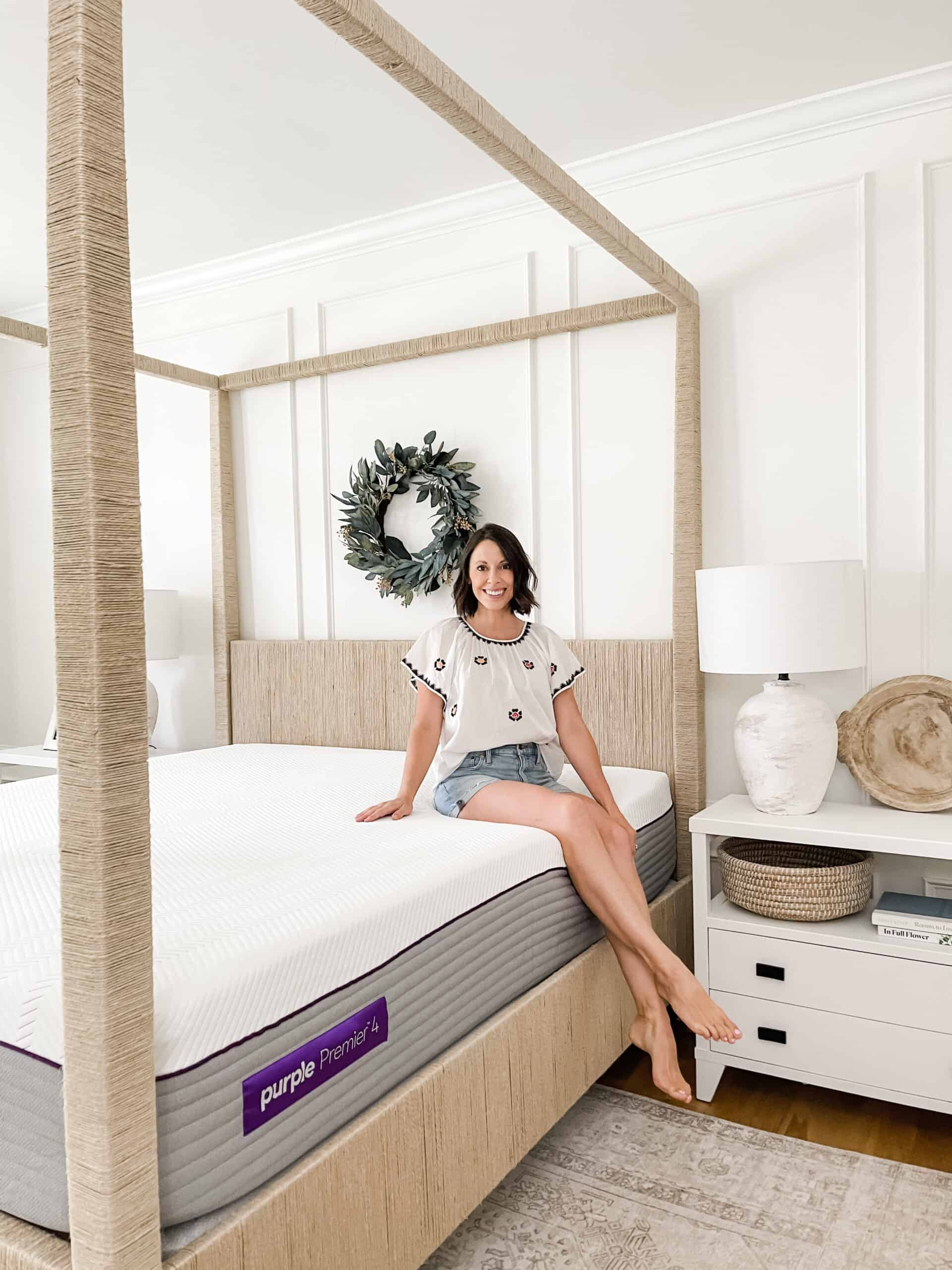 Purple mattress review in master bedroom