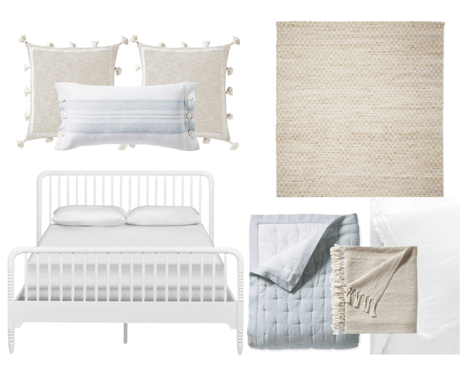 Moodboard for kids room using blue and white decor from Serena & Lily.