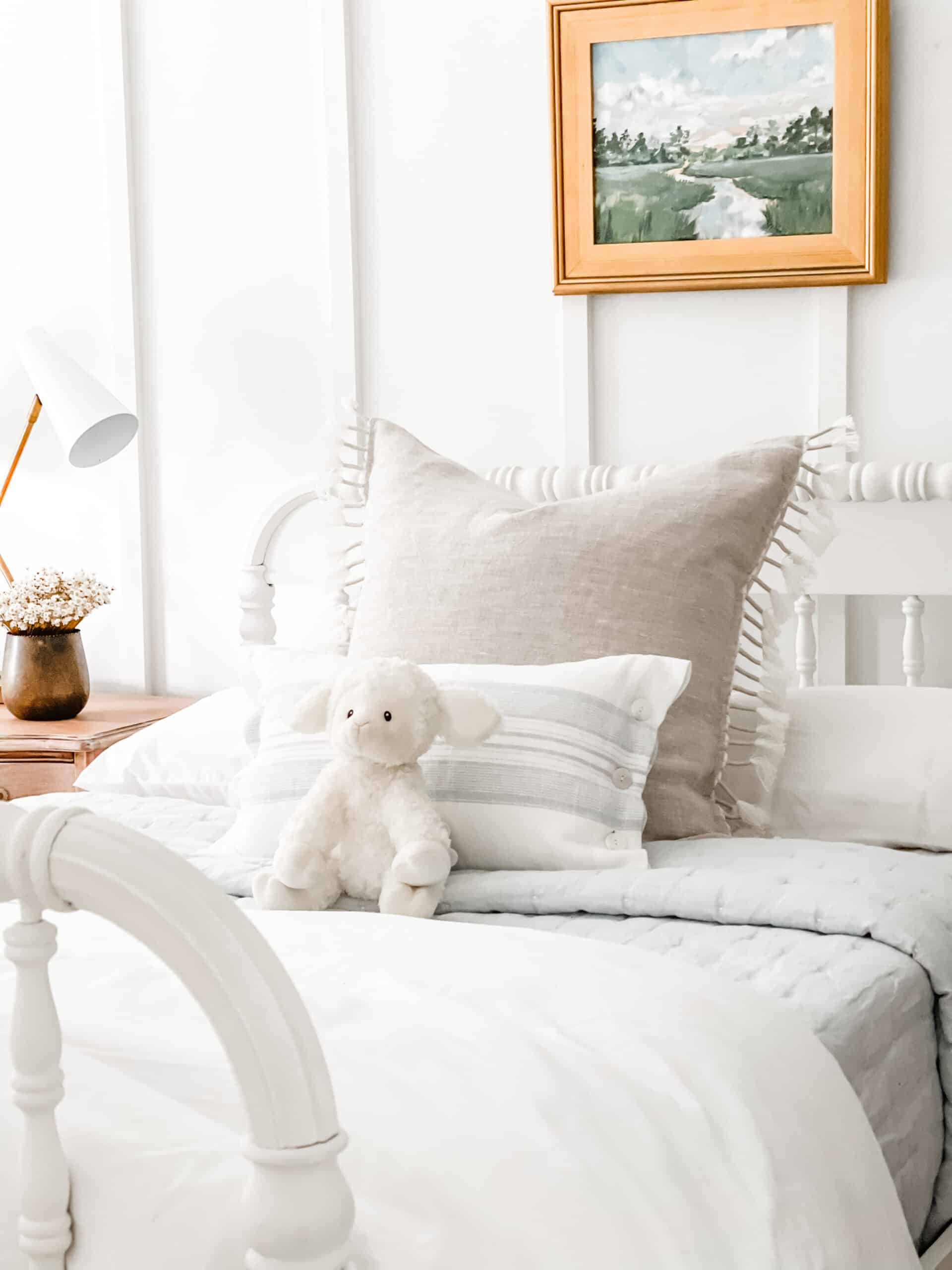 Topanga pillow from Serena & Lily in coastal kids bedroom.