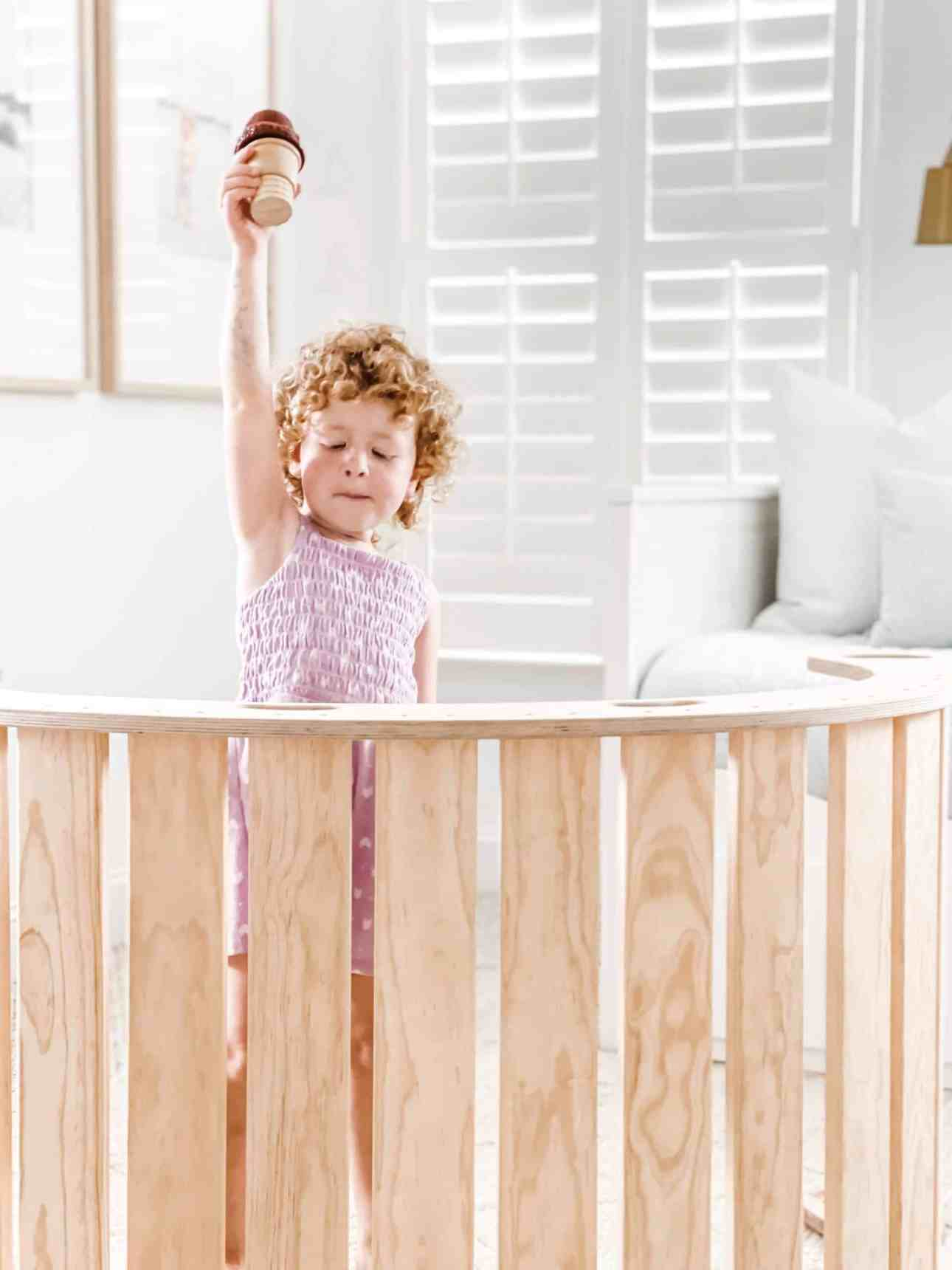 Imaginative play with wood toys.