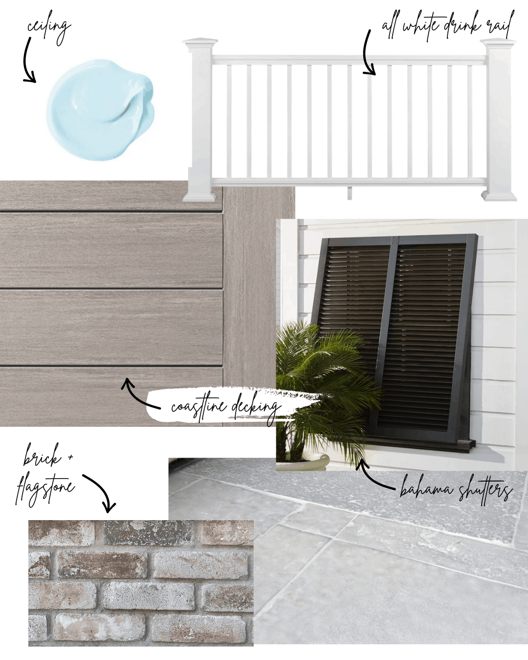 Backyard makeover design with flagstone, whitewashed brick, driftwood desk, and Bahama shutters.