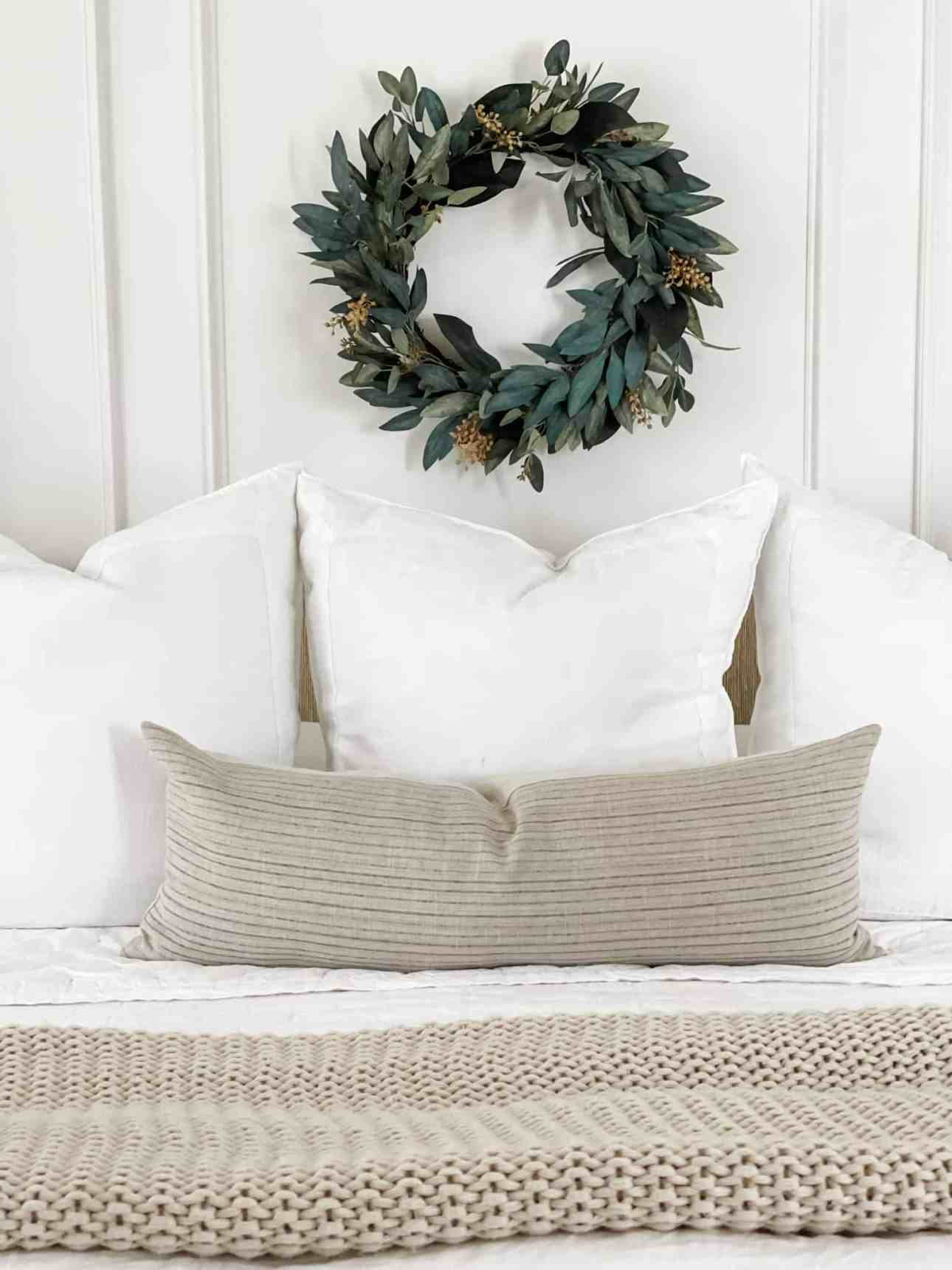 White linen euro shams and bedding from Serena & Lily.