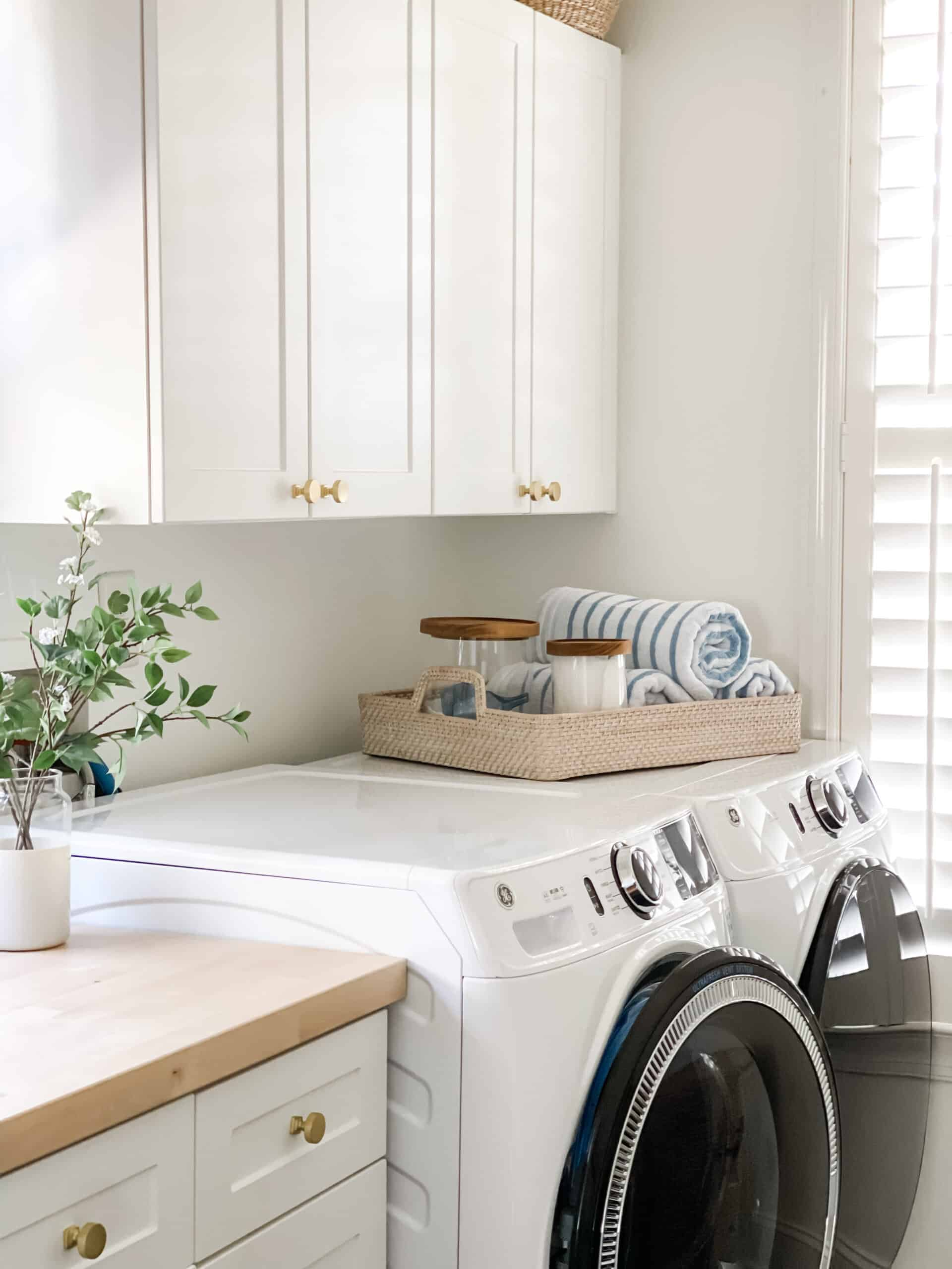 Laundry room inspiration with white front loader washer and dryer.