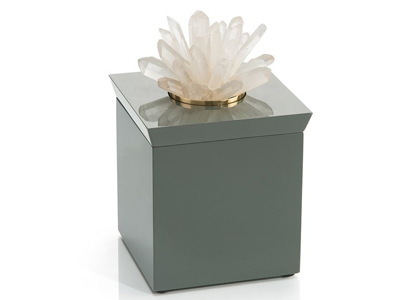 quartz flower atop green box