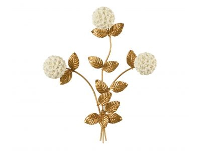 white porcelain flowers on gold stems wall hanging