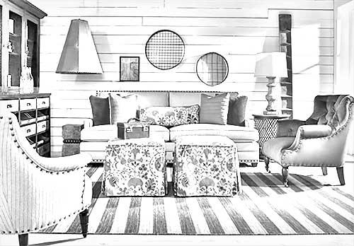 pencil sketch of living room