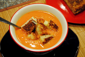 grilled cheese and tomato soup with homemade croutons recipe