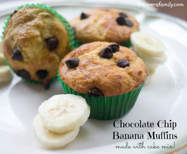 Chocolate Chip Banana Muffins - made with cake mix