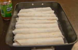 making pizza enchiladas
