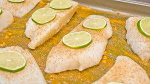 preparing baked flounder fillets with red palm oil and lime