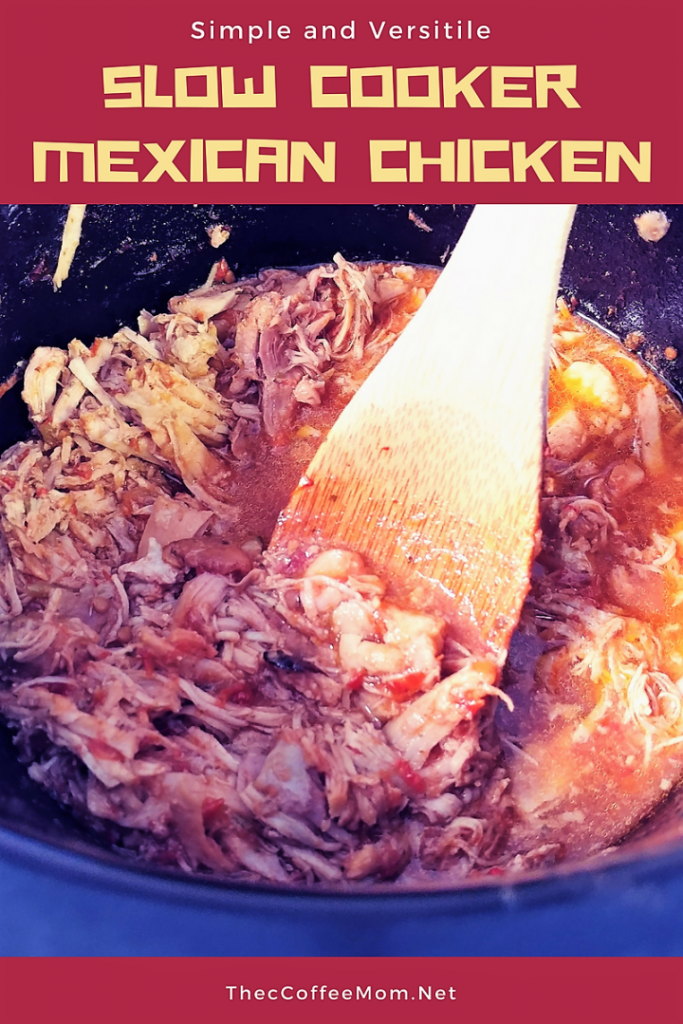 Juicy and versatile crock pot Mexican Chicken! Perfect for tacos, burritos, nachos, and more!