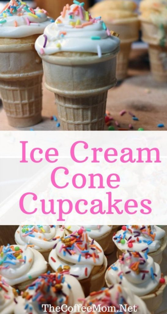 Looking to make some easy Ice Cream Cone Cupcakes for your next birthday party? All you need is cake mix, ice cream cones, frosting and sprinkles!