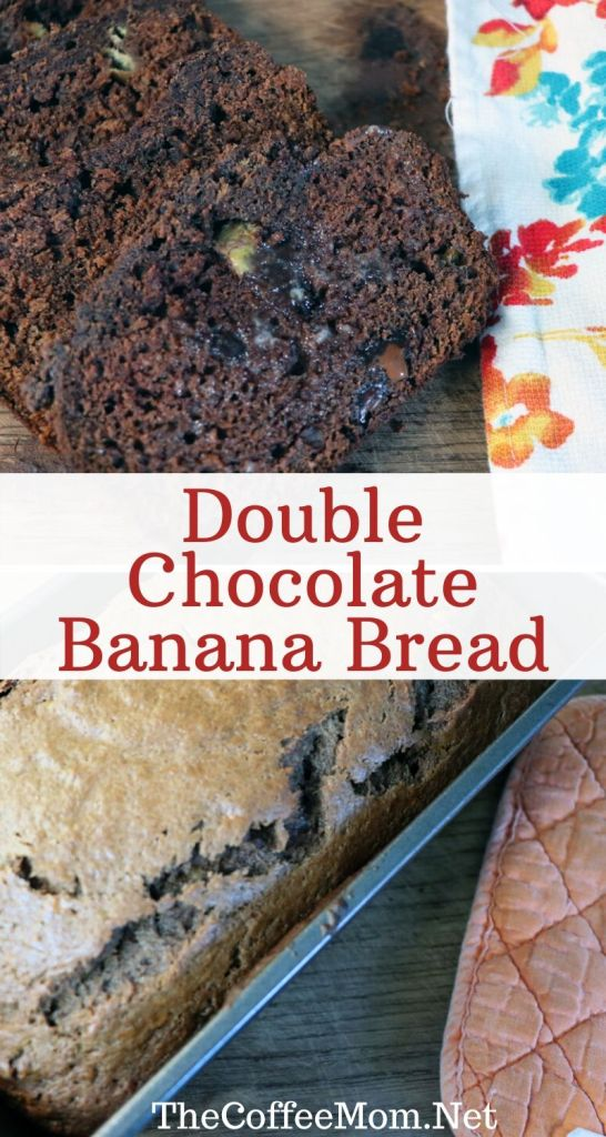 Do you have overripe bananas laying around? Turn them into Double Chocolate Banana Bread with just a few simple pantry staple ingredients.