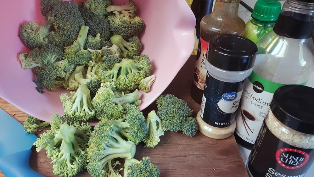 Air Fryer roasted Asian broccoli