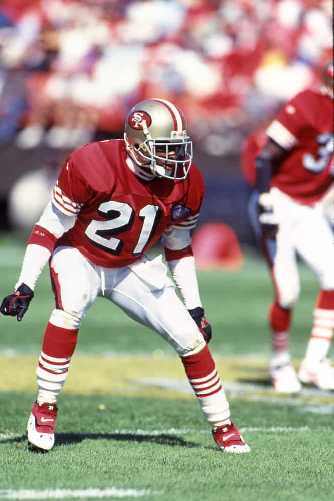 Deion Sanders #21 of the San Francisco 49ers in action. Circa the 1980's.