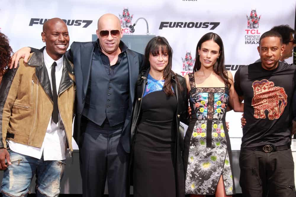 Tyrese Gibson, Vin Diesel, Michelle Rodriguez, Ludacris, Jordana Brewster at the Furious 7 World Premiere
