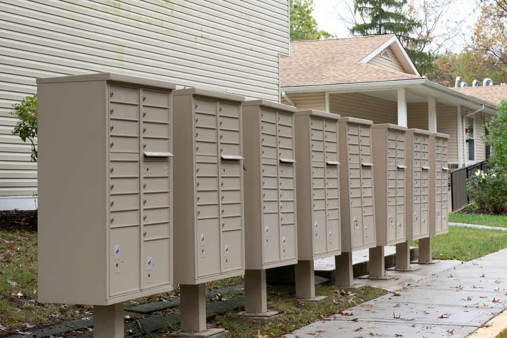 mail boxes and security lock in rows key lock
