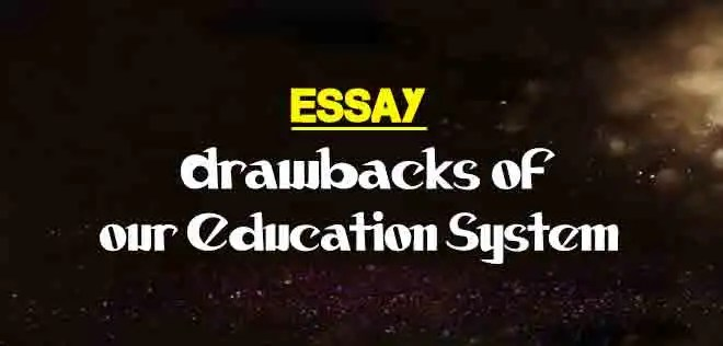 essay on drawbacks of our education system  the college study