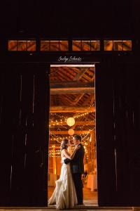Couple dancing in rustic Vermont wedding barn