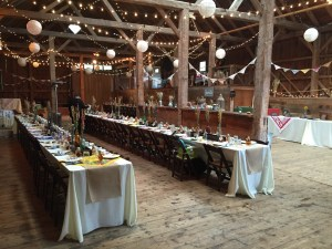 Banners and tables in the barn