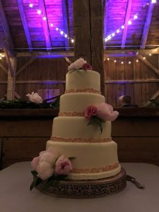 Wedding cake with ceiling lights