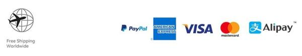 Free shipping worldwide. PayPal, American Express, Visa, Mastercard, Alipay.