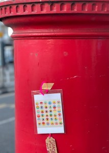 I put postcards everywhere, including on trees, phone boxes and letterboxes.