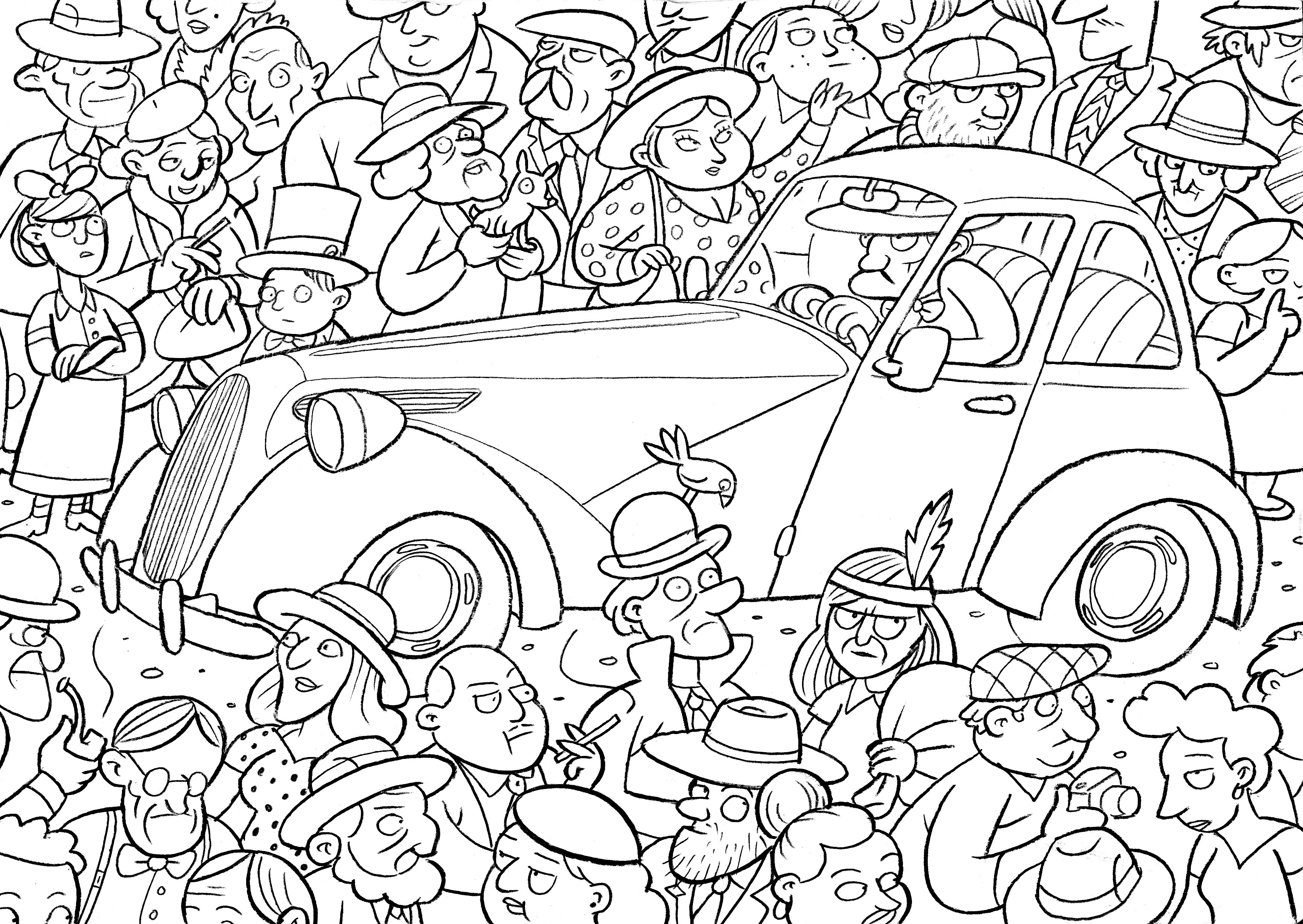 S Crowd Colouring Sheet