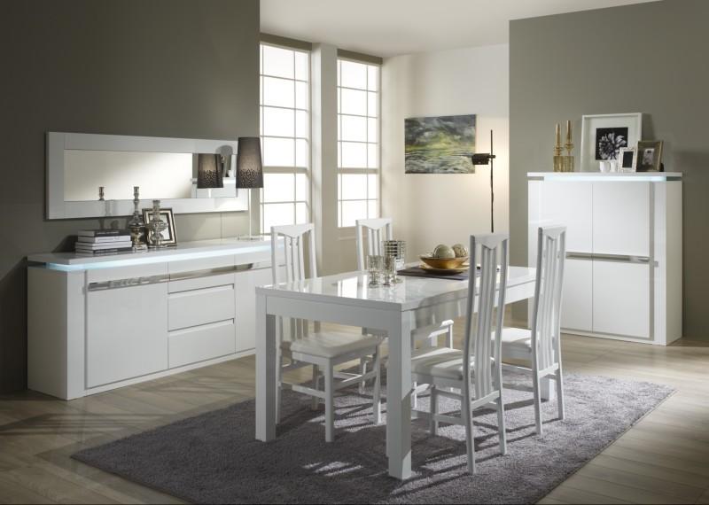 salle a manger riva sp1 blanc chrome chaise en bois