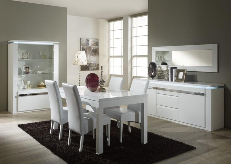 salle a manger riva sp blanc chrome chaise en pvc