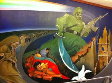 The Russians have even been depicted the Mural at Denver International Airport near baggage.