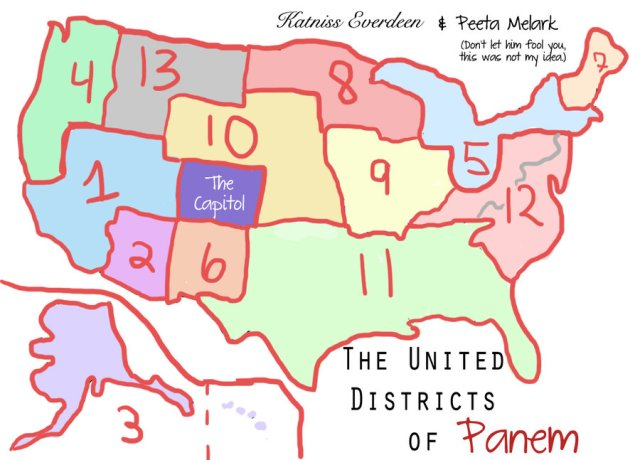 A map of Panem's 12 Districts. Note that Capitol City is located in Colorado, precisely where the Federal government is moving much of its operations, to Colorado. This parallels the United Nations approach to the creation of 10 districts in the U.S. in 1972.