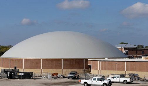 The new dome in Edna, Tex., will also serve as a high school gymnasium. The $2.5 million structure, mostly financed by FEMA, is designed to withstand winds of up to 200 miles per hour. Credit David J. Phillip/Associated Press
