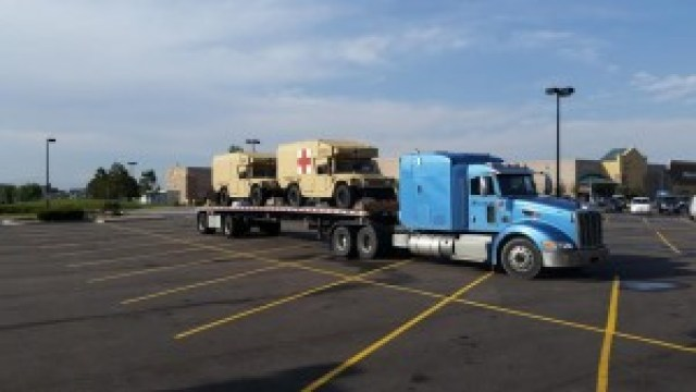 More military medical vehicles being parked at Walmart in Parker, CO.