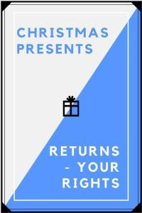 Christmas presents returns your rights on blue and white contrasting background