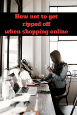 woman sitting at computer text how not to get ripped off when shopping online
