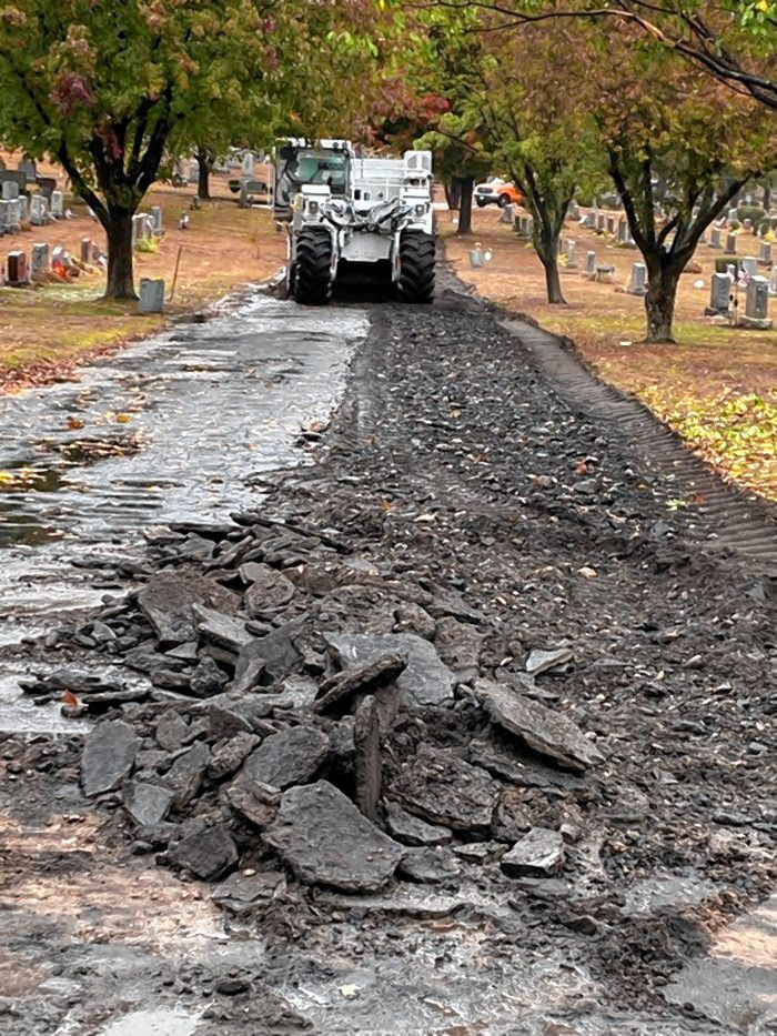 Continental Paving is paving more than 1,200 feet of roads in Blossom Hill and Concord Calvary Cemetery this week. The paying project will be finished early next week.