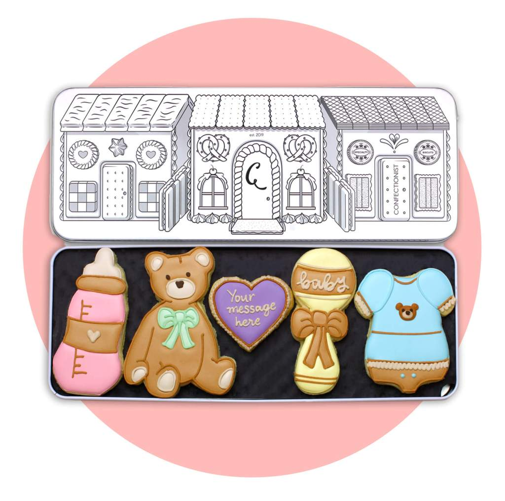 New Baby Biscuit Set with pink background