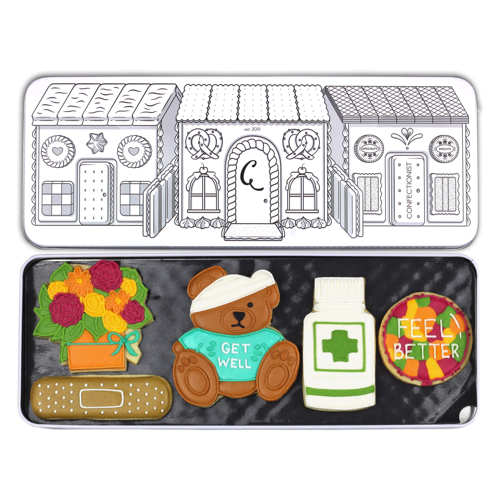 get well biscuit set in tin